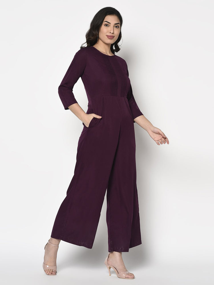Fabnest women solid wine jumpsuit with pleat work-Jumpsuit-Fabnest