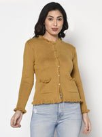 Fabnest Women Winter Acrylic Mustard Cardigan with Pockets and Frill Detail-Cardigan-Fabnest