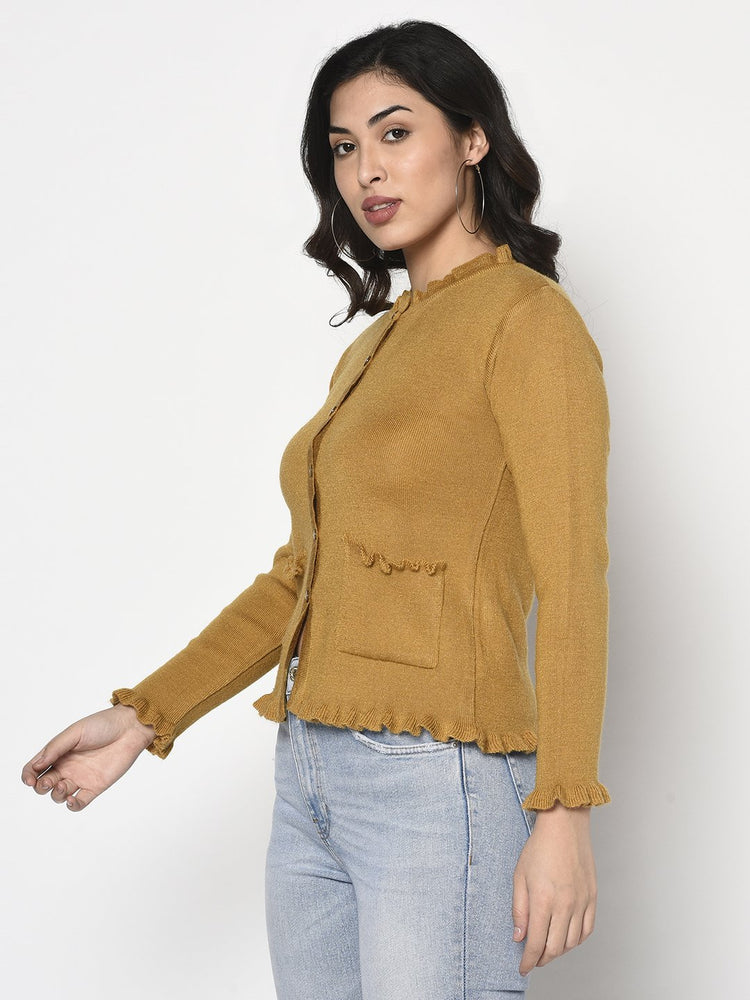 Load image into Gallery viewer, Fabnest Women Winter Acrylic Mustard Cardigan with Pockets and Frill Detail-Cardigan sweater-Fabnest