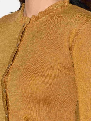Load image into Gallery viewer, Fabnest Women Winter Acrylic Mustard Cardigan with Pockets and Frill Detail-Cardigan-Fabnest