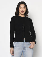 Fabnest Women Winter Acrylic Black Cardigan with Pockets and Frill Detail-Cardigan-Fabnest