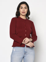 Fabnest Women Winter Acrylic Maroon Cardigan with Pockets and Frill Detail-Cardigan-Fabnest