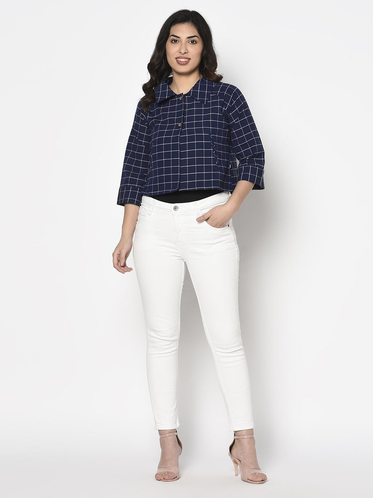 Load image into Gallery viewer, Fabnest Womens cotton handloom cropped jacket with back tab in navy and white window pane check-Jacket-Fabnest