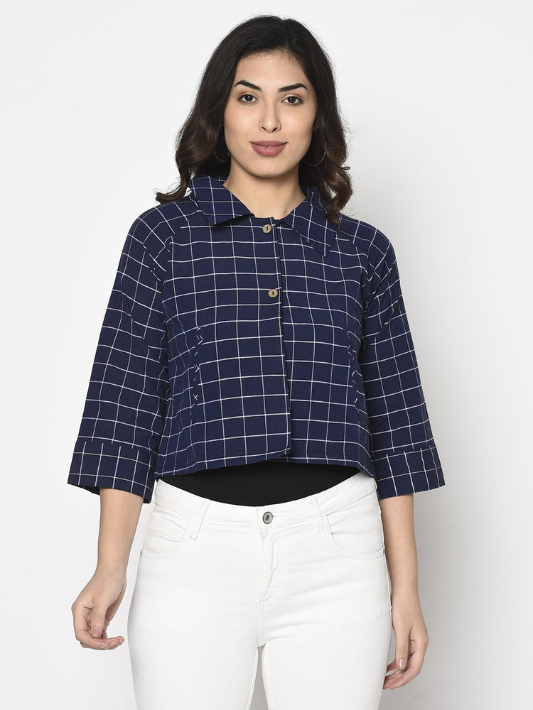 Fabnest Womens cotton handloom cropped jacket with back tab in navy and white window pane check-Jacket-Fabnest