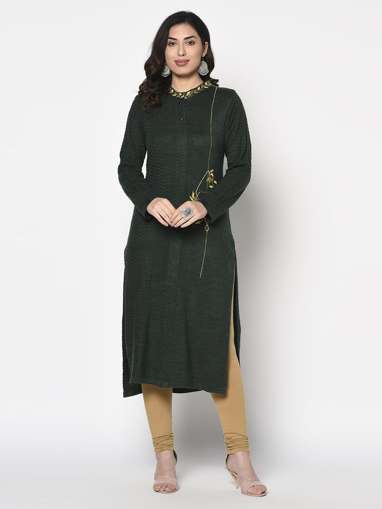 Fabnest Womens Winter Acrylic Dark Green Embroidered Kurta with Bead Work-Winter Kurta-Fabnest