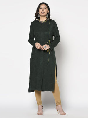Load image into Gallery viewer, Fabnest Womens Winter Acrylic Dark Green Embroidered Kurta with Bead Work-Winter Kurta-Fabnest