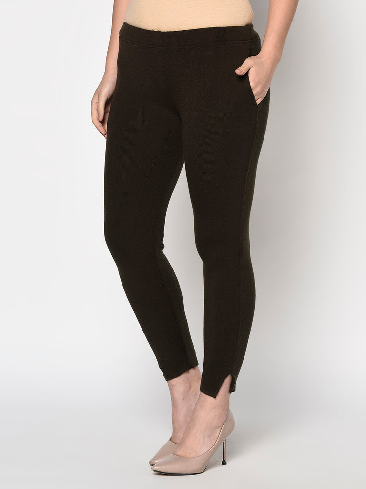 Load image into Gallery viewer, Navy brown acrylic winter jeggings with pockets-Pants-Fabnest
