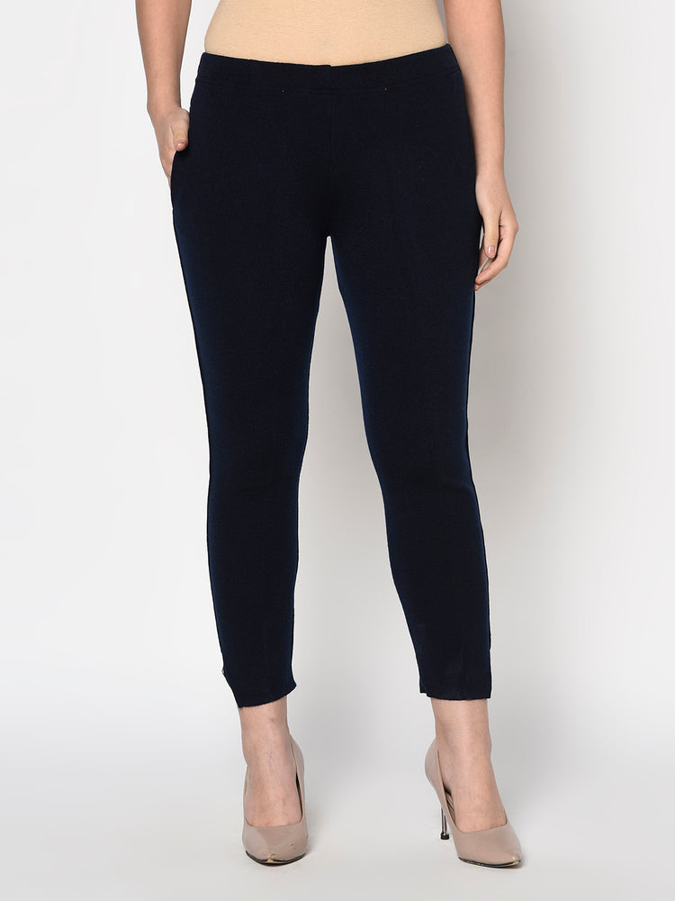 Navy blue acrylic winter jeggings with pockets-Pants-Fabnest