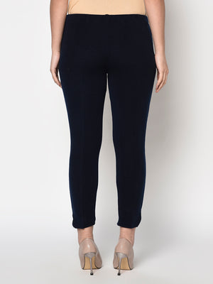 Load image into Gallery viewer, Navy blue acrylic winter jeggings with pockets-Pants-Fabnest