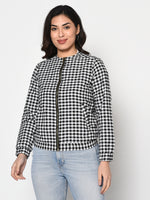 Winter cotton black and white check double layered zipper jacket-Jacket-Fabnest