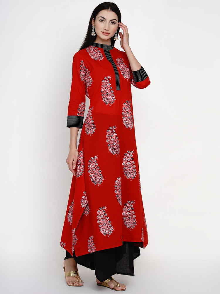 Load image into Gallery viewer, Fabnest women cotton floral paisley print red assymetric kurta with thread work-Kurta-Fabnest