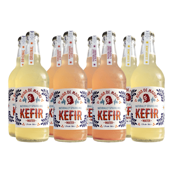 Mixed Kefir Water UK case of Pomegranate & Hibiscus and Passion Fruit & Raspberry 8 bottles