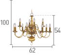 Searchlight 1019-12Ab Flemish Solid Antique Brass 12 Light Chandelier With Metal Candle Covers