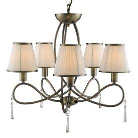 Searchlight 1035-5Ab Simplicity Antique Brass 5 Light Fitting With Glass Drops & White String Shades