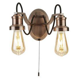 Searchlight 1062-2Cu Olivia 2 Light Wall Bracket, Black Braided Fabric Cable, Antique Copper