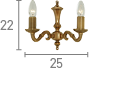 Searchlight 1072-2Ng Malaga Solid Brass 2 Light Wall Bracket With Metal Candle Tubes