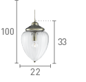 Searchlight 1091Ab Antique Brass Pendant Light With Clear Ribbed Optic Glass Shade