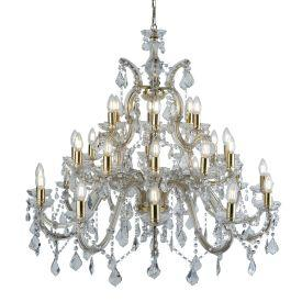Searchlight  1214-30 Marie Therese Brass 30 Light Chandelier With Crystal Drops