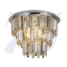 Giselle 62A-5Cc 5Lt Chrome Flush With Clear/Amber/Smokey Crystal Prism Drops