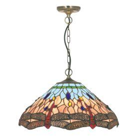 Searchlight 1283-16 Dragonfly Antique Brass Pendant Light With Hand Made Tiffany Glass