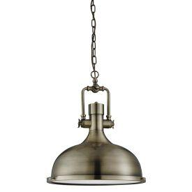 Searchlight 1322Ab Antique Brass Industrial Pendant Light With Frosted Diffuser
