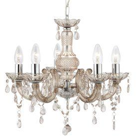 Searchlight 1455-5Mi Marie Therese Mink 5 Light Chandelier With Acrylic Glass Drops