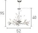 Searchlight 1885-5Cc Hibiscus Chrome 5 Light Fitting With Crystal Petals