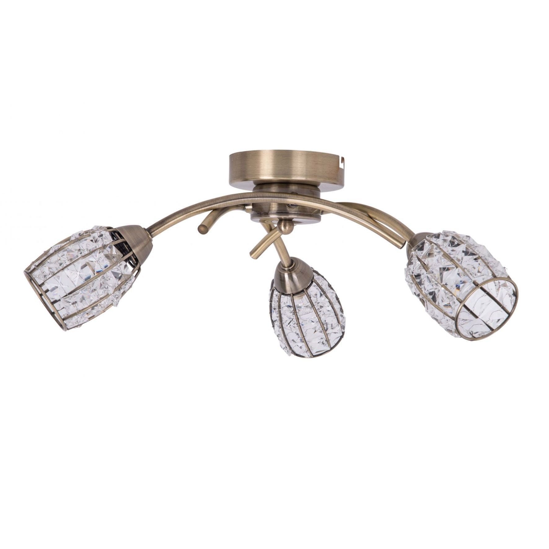Magnalux Roma 3 Light Antique Brass With Crystal Shade