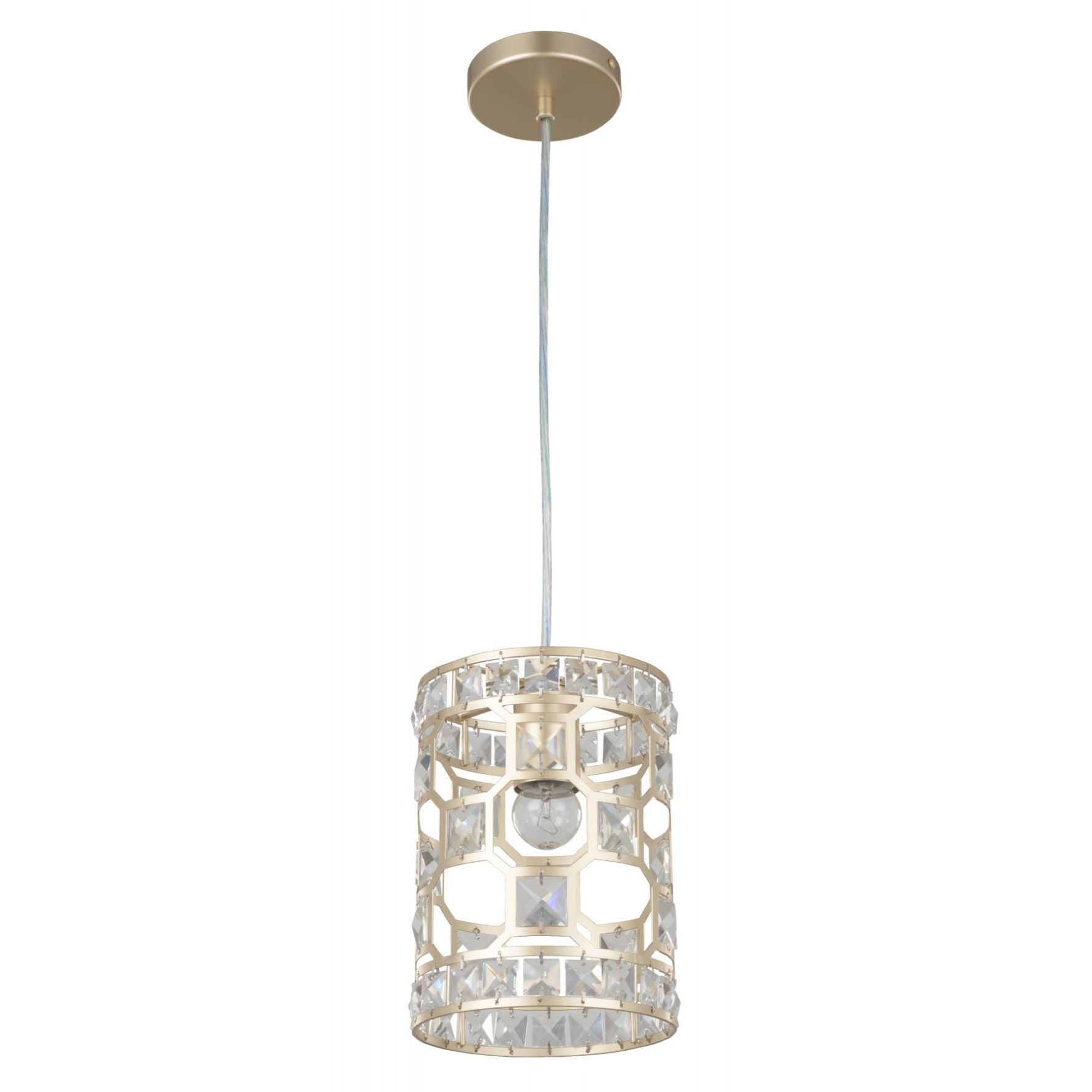 Magnalux Diana 1 Light Crystal Pendant Champagne Gold