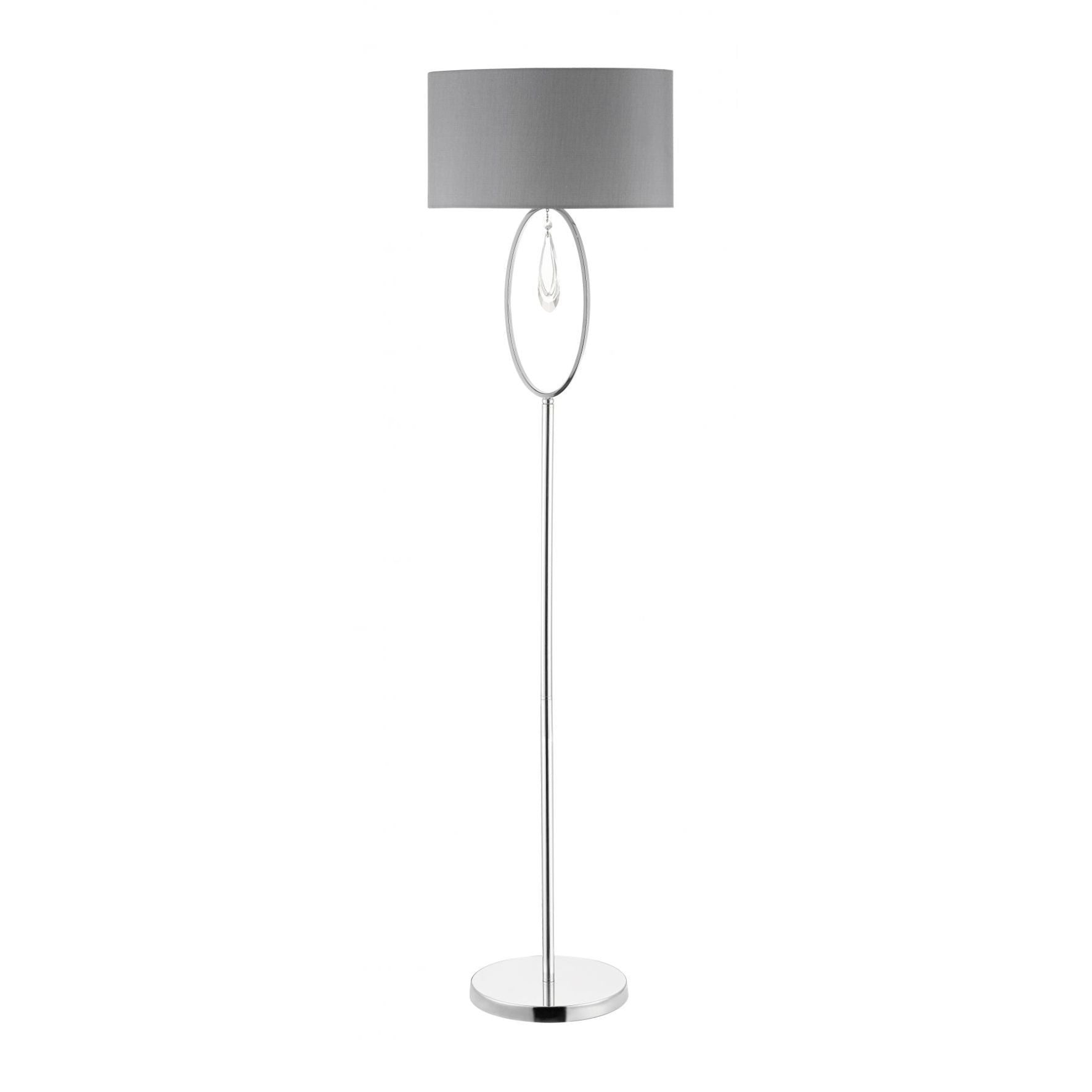 Magnalux Markle Polished Chrome And Crystal Floor Lamp C/W Oval Shade