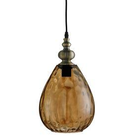 Searchlight  2019Am Indiana Antique Brass Pendant Light With Dimpled Glass Shade