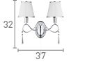 Searchlight 2032-2Cc Simplicity Chrome 2 Light Wall Bracket With Glass Drops & White String Shades