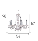 Searchlight 215-5 Hale Chrome 5 Light Chandelier With Crystal Trimmings