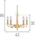 Searchlight 2175-5Ng Seville Polished Solid Brass 5 Light Fitting With Hexagonal Column