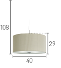 Searchlight 2353-40Cr Cream Drum Pleat 3 Light Pendant With Frosted Glass Diffuser