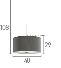 Searchlight 2353-40Si Silver Drum Pleat 3 Light Pendant With Frosted Glass Diffuser