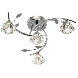 Searchlight 2634-4Cc Sierra Chrome 4 Light Semi-Flush Fitting With Sculptured Glass Shades