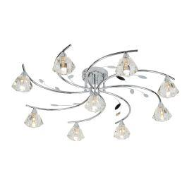 Searchlight 2639-9Cc Sierra Chrome 9 Light Semi-Flush Fitting With Sculptured Glass Shades