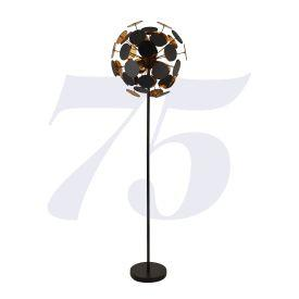 Leanne 48A-Bg Discus 4Lt Black/Gold Floor Lamp