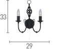 Searchlight 3380-2 Zanzibar Metal Black 2 Light Wall Bracket With Ornate Twisted Column