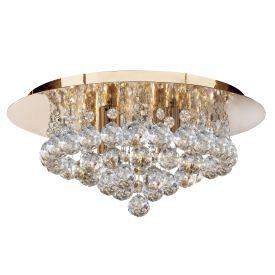 Searchlight 3404-4Go Hanna Gold 4 Light Semi-Flush With Clear Crystal Balls Fitting