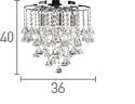 Searchlight 3494-4Cc Dorchester Chrome 4 Light Chandelier With Cascading Clear Crystal Buttons