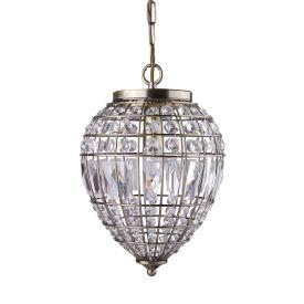 Searchlight 3991Ab Antique Brass Pendant Light With Crystal Glass Buttons