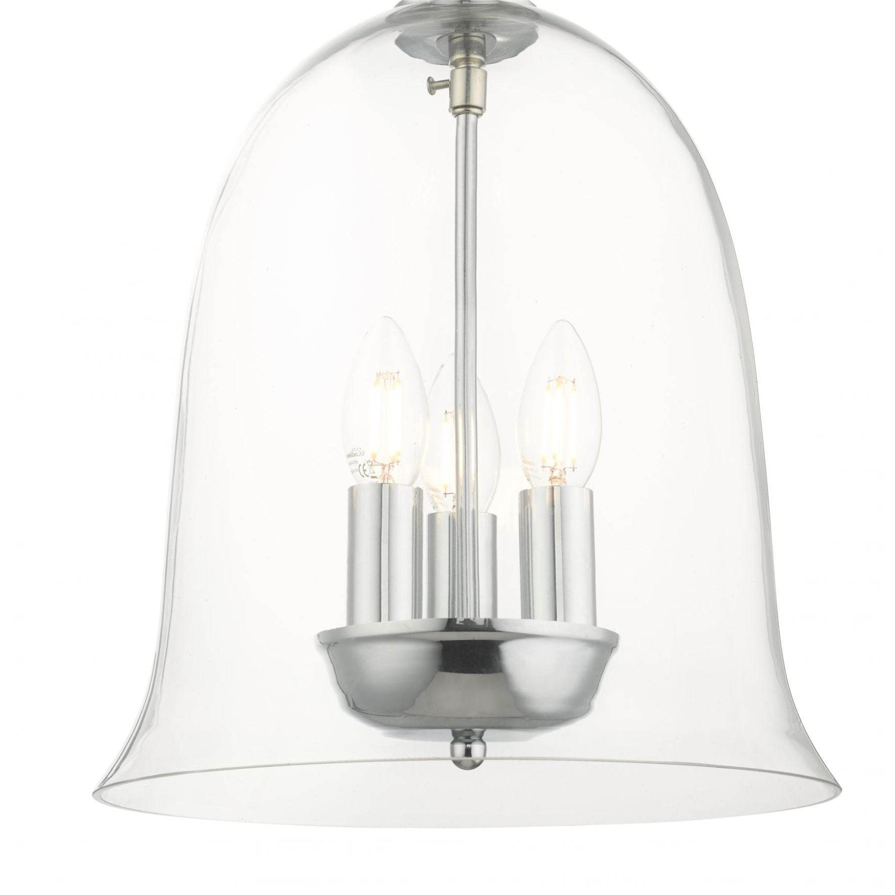 Magnalux Bell 3 Light Clear Glass Pendant Polished Chrome