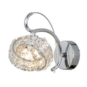 Magnalux Monaco 1 Light Polished Chrome Wall Light C/W Knotted Crystal Shade