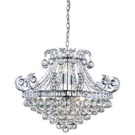 Searchlight 5046-6Cc Bloomsbury 6 Light Chrome Chandelier With Clear Crystal Insert D'Cor
