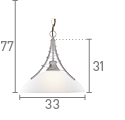 Searchlight 5224Ss Linea Satin Silver Pendant Light With Twist Centre & Dome Opal Glass