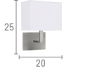 Searchlight 5519Ss Satin Silver Wall Light With White Rectangular Fabric Shade, Black Switch