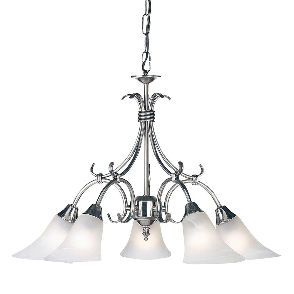 Endon 144-5As - Hardwick 5Lt Pendant 40W Antique Silver Effect Plate & Frosted Glass