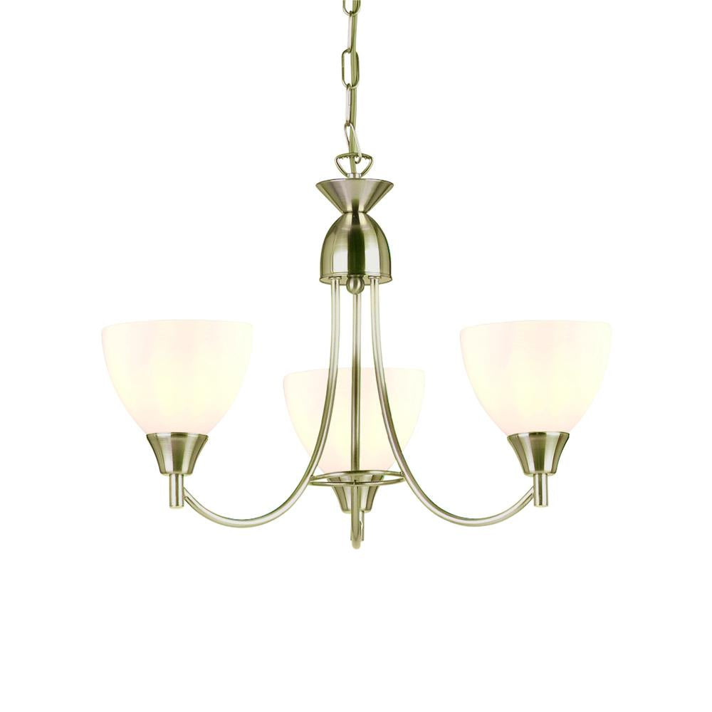 Endon 1805-3Sc - Alton 3Lt Pendant 60W Satin Chrome Effect Plate & Matt Opal Glass